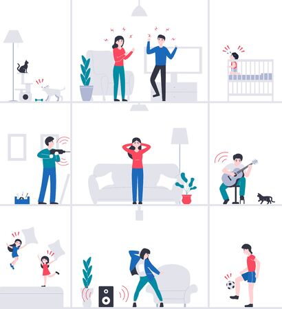 Stay at home. Isolation girl suffers from noisy neighbors. Quarantine period. Novel coronavirus pandemic. Flat vector cartoon modern design illustration.