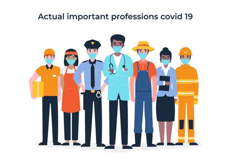 International Labor Day. Set people characters actual important professions covid 19. Coronavirus pandemic, epidemic. Flat vector cartoon modern illustration concept for banner, poster, layout. Vettoriali