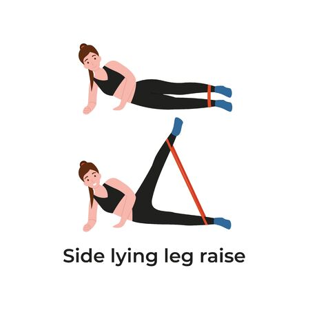 Booty or glutes workout with resistance bands. Side lying leg raise, lateral leg lifts. Stay home and do sport. Flat vector cartoon modern illustration.