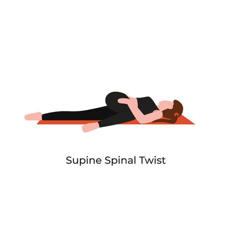 Young beautiful woman practicing yoga in supine spinal twist pose. Flat vector cartoon modern style illustration isolated white background. Vektorové ilustrace