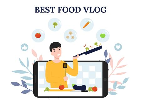 Young blogger or vlogger man. Guy cooks delicious food on his online channel. Concept flat vector illustration for web landing page, banner, social media, poster, application.  イラスト・ベクター素材