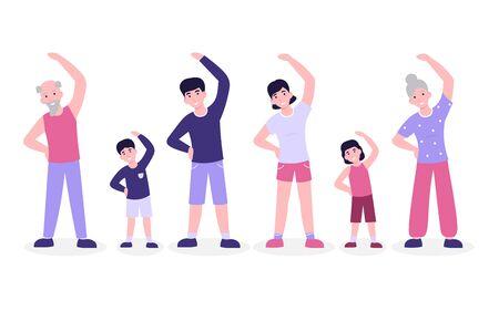 Big family do morning fitness exercising, slope. Flat vector cartoon modern illustration isolated white background.