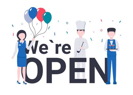 Capital letters. We are Open concept with happy celebration restaurant or cafe staff employers with balloons. Flat vector cartoon modern illustration.