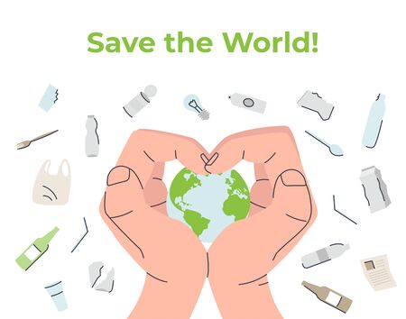 Happy Earth Day Human hands protect the Planet from danger, pollution. World Environment day concept. Flat vector eco modern illustration for social poster, banner, card, template. Save the Planet