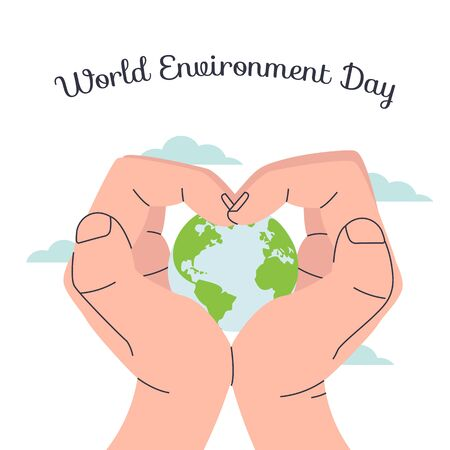 Happy Earth Day Human hands protect the Planet from danger. World Environment day concept. Flat vector eco modern illustration for social poster, banner, card, template. Save the Planet