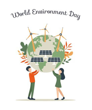 World Environment day concept.  Concept people hold Planet with solar energy panels and windmills. Flat vector eco modern illustration for social poster, banner, card, template. Save the Planet!   イラスト・ベクター素材