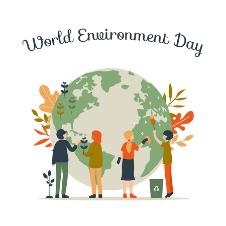 World Environment day concept. People go green, plant tree, clean Earth. Flat vector eco modern illustration. Save the Planet!