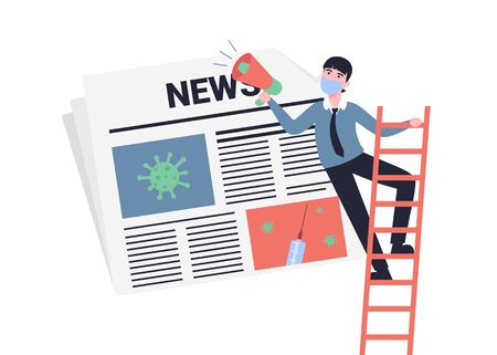 Businessman character in a protective medical mask with loudspeaker. Coronavirus news, newspaper. Flat style vector modern illustration. Concept for banner, poster, layout, website, template.  イラスト・ベクター素材
