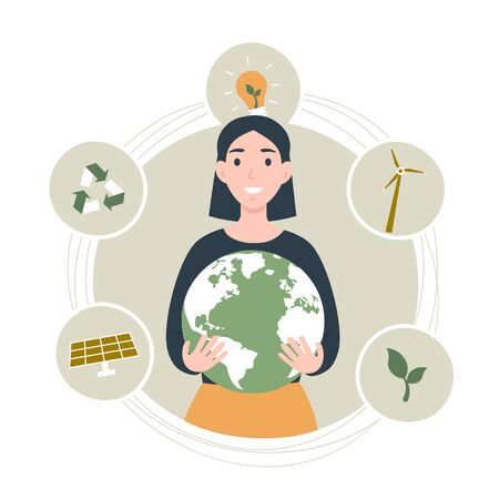 Happy Earth Day World Environment day concept. Girl hold the Planet. Flat vector eco modern illustration for social poster, banner, card, template. Save the Planet