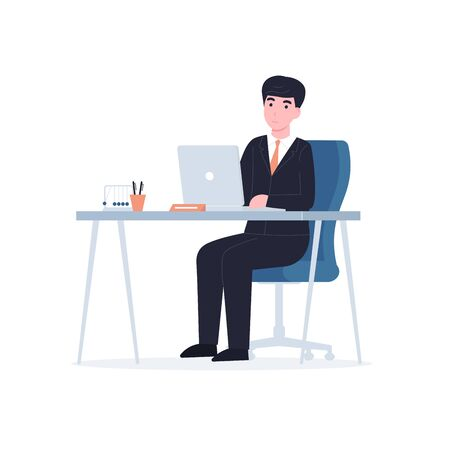 Businessman sitting at the table and using a laptop. Flat vector modern illustration isolated on white background.