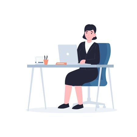 Businesswoman sitting at the table and using a laptop. Flat vector modern illustration isolated on white background.