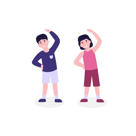 Children do morning fitness exercising, slope. Flat vector cartoon modern illustration isolated white background.