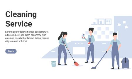 Cleaning service concept professional team workers. Woman with mop brush clean floor at the kitchen. Flat vector cartoon modern illustration for web page, banner, poster, template, layout.