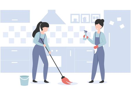 Cleaning service concept professional workers. Woman with mop brush clean floor at the kitchen. Flat vector cartoon modern illustration.