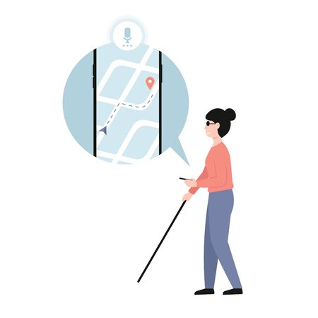 Blind woman holding stick. Mobile Application Assistant for Blind people. Disabled female with blindness isolated white background. Flat vector modern cartoon illustration.