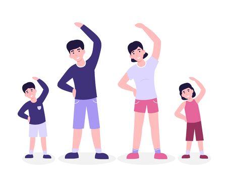 Family is doing morning fitness exercising, slope. Flat vector modern cartoon illustration isolated white background.