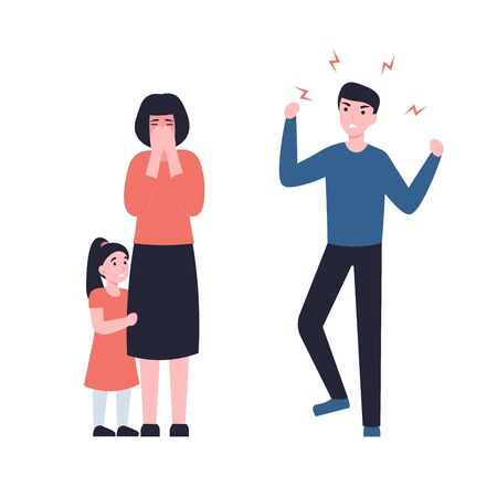 Father yells at mother, she is crying, child hugs mom. Concept flat vector cartoon Illustration. Family problems, pressure at work, domestic abuse, unhappy marriage.