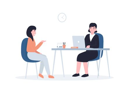 Woman to get a job, girl at a job interview. Flat vector cartoon modern illustration in trendy style.