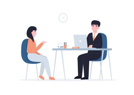 Woman to get a job, girl at a job interview. Flat vector cartoon modern illustration in trendy style  イラスト・ベクター素材