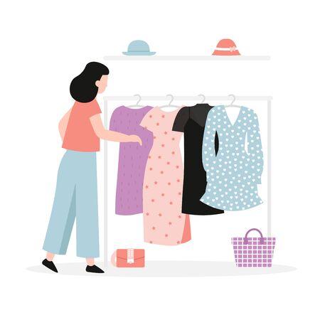 Young beautiful girl chooses a dress in the closet. Flat vector modern cartoon illustration.