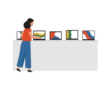 Electronics store. Girl buying laptop. Flat vector cartoon illustration.