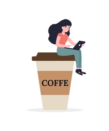 Small female sitting on giant coffee cup with a laptop. Flat vector cartoon modern illustration.