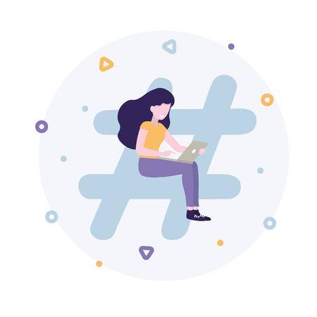 Blogger or vlogger. Concept of hashtag for social media network. Girl with a laptop. Flat vector illustration for web landing page, banner, social media, poster, application.
