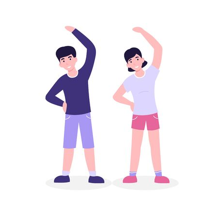Guy and girl doing morning fitness exercising, slope. Flat vector cartoon illustration isolated white background.  イラスト・ベクター素材