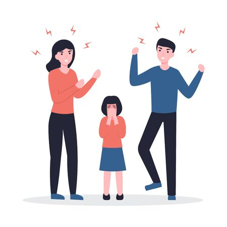 Husband and wife scandal, child crying. Concept flat vector cartoon Illustration. Family problems, pressure at work, domestic abuse, unhappy marriage.