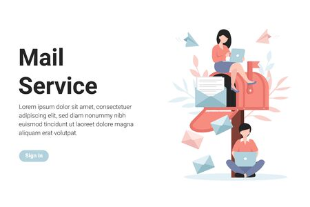 Mail service, notification sending, message. People send and receive letters. Flat vector modern concept illustration web page, banner, poster, template, layout, app.