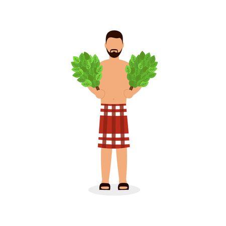 Man bathing in Bathhouse, hold oak birch brooms. Flat vector cartoon illustration.