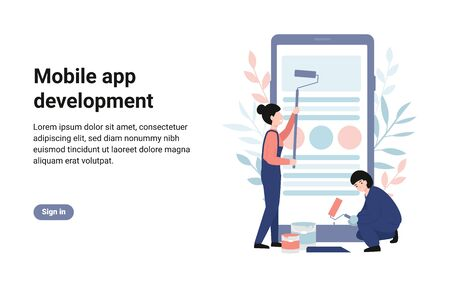Mobile app development, creation process, creative team. People stand near big phone. Concept for presentation, social media, banner, web page, poster, template. Flat vector modern illustration.