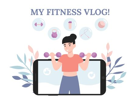 Young blogger or vlogger girl. Woman do fitness and shoot video lessons on camera. Concept flat vector illustration for web landing page, banner, social media, poster, application.
