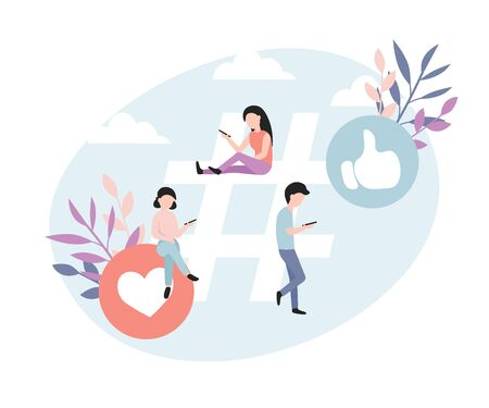 Bloggers or vloggers. Concept of hashtag for social media network. Small people near a big tag. Flat vector illustration for web landing page, banner, social media, poster, application.  イラスト・ベクター素材