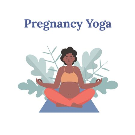 Concept young pregnant afro woman practicing yoga in lotus pose. Flat vector cartoon modern style illustration.
