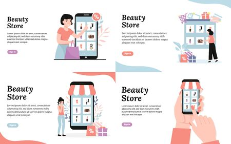 Beauty cosmetic store. Young girls buy cosmetics online. Shopping concepts. Set flat vector modern cartoon illustration template for web landing page, banner, social media, poster, flyer.