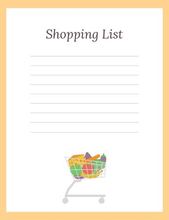Grocery List template with vegetables in cart. Flat vector illustration. Иллюстрация