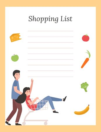 Grocery List template with vegetables and happy people customers. Flat vector illustration.