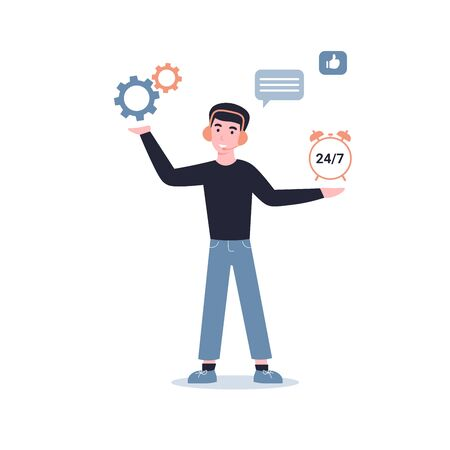 Technical support man, round the clock site maintenance. Flat vector cartoon modern illustration in trendy style