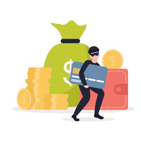 Masked thief steals a credit card, money, personal data. Flat vector cartoon illustration isolated white background.