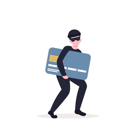 Masked thief steals a credit card, personal data. Flat vector cartoon illustration isolated white background.  イラスト・ベクター素材
