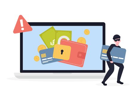 Cyber thief breaks laptop and steals money, credit card details. Hacked lock and bad antivirus. Flat vector cartoon illustration concept.
