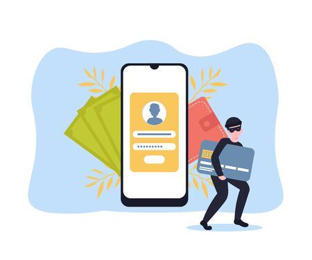 Cyber thief breaks a phone and steals money, credit card details. Hacked lock and bad antivirus. Flat vector cartoon illustration concept.  イラスト・ベクター素材