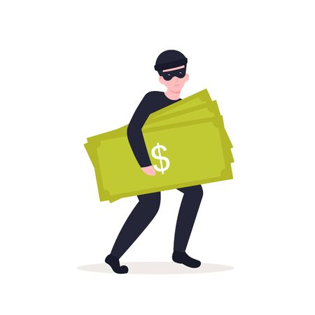 thief steals credit card from phone. Flat vector cartoon illustration.