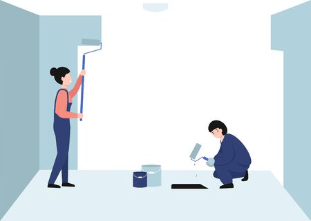 Painter workers women paints the wall. Girls hold paint rollers in hand. Flat vector modern cartoon illustration design.  イラスト・ベクター素材