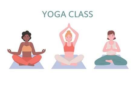 Young beautiful women practicing yoga in lotus poses. Flat vector cartoon modern style illustration isolated white background.