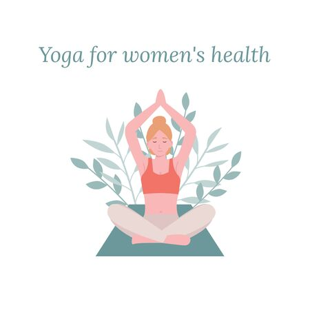Concept young beautiful blonde woman practicing yoga in lotus pose. Flat vector cartoon modern style illustration.