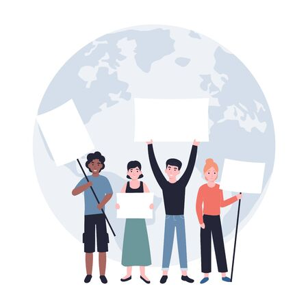 Group of young men and women standing together and holding empty banners. Environmental save planet demonstration. Male and female protesters or activists. Flat vector modern illustration.