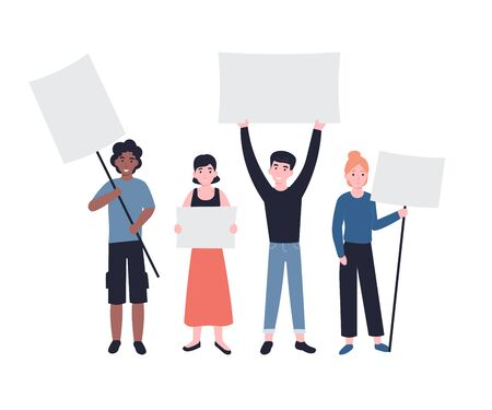 Group of young men and women standing together and holding empty banners. People characters demonstrating blank banners. Male and female protesters or activists. Flat vector modern illustration.