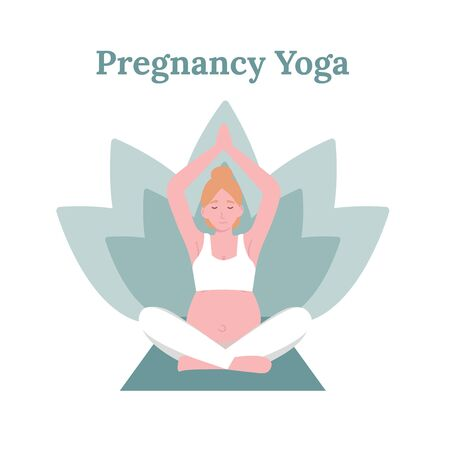 Concept young pregnant woman practicing yoga in lotus pose. Flat vector cartoon modern style illustration.
